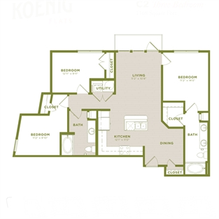 1,166 sq. ft. C2 floor plan