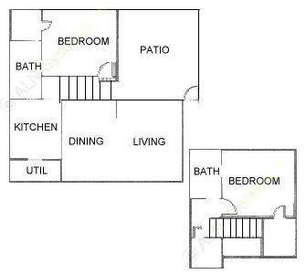1,116 sq. ft. B2TH floor plan