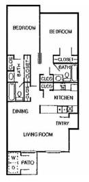 998 sq. ft. Spruce floor plan