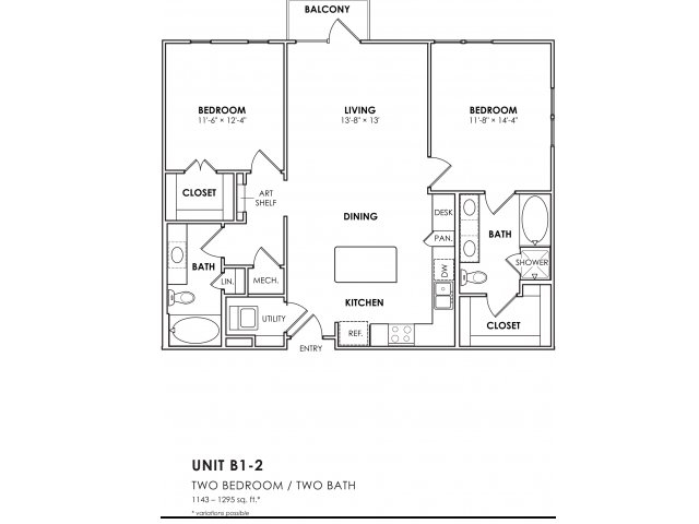 1,143 sq. ft. B1-2 floor plan