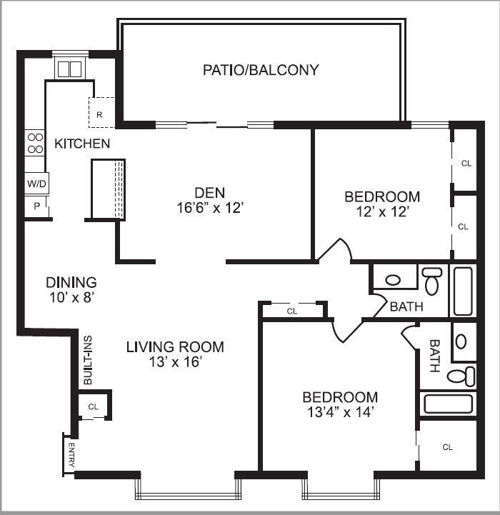 1,332 sq. ft. B8 floor plan