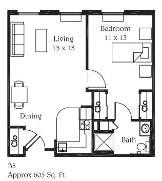 605 sq. ft. B5 floor plan