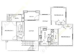 1,050 sq. ft. B/50% floor plan