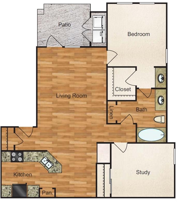 896 sq. ft. Homestead floor plan
