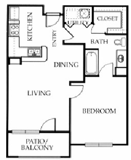 663 sq. ft. A floor plan