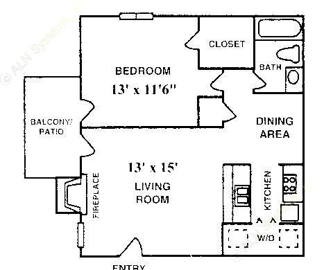 600 sq. ft. A-3 floor plan
