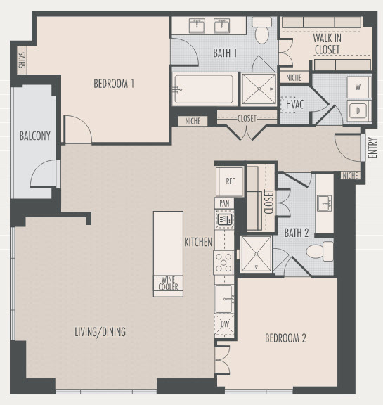 1,454 sq. ft. P1 floor plan