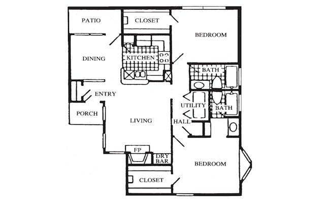 1,004 sq. ft. floor plan