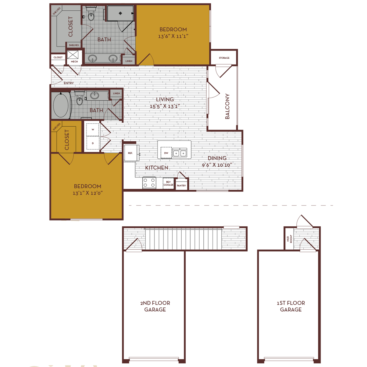 1,186 sq. ft. C3 floor plan