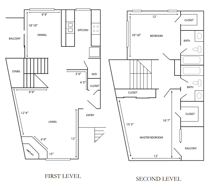 1,233 sq. ft. G-B2 floor plan