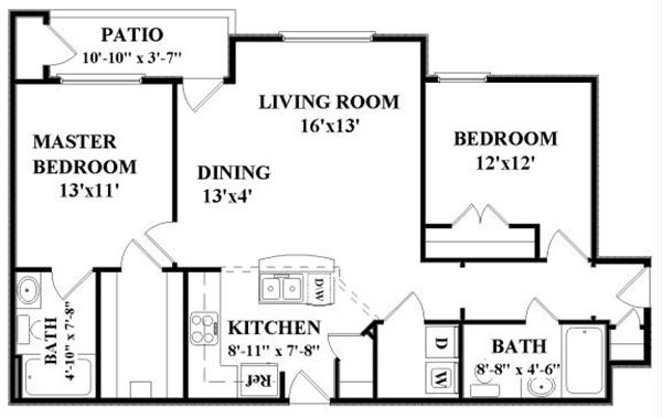 1,015 sq. ft. St. James-Down floor plan
