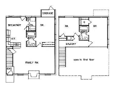 1,400 sq. ft. TOWNHOME floor plan