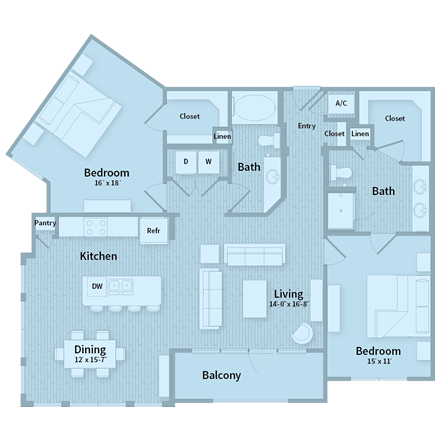 1,366 sq. ft. floor plan