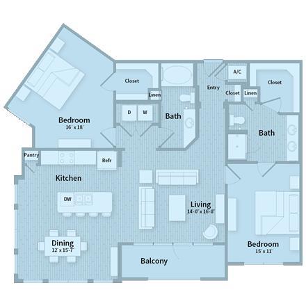 1,366 sq. ft. floor plan