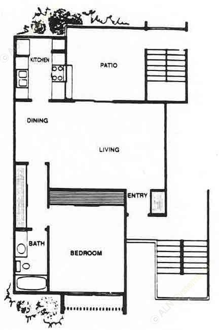 720 sq. ft. A2 floor plan