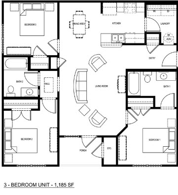 1,185 sq. ft. 50% floor plan