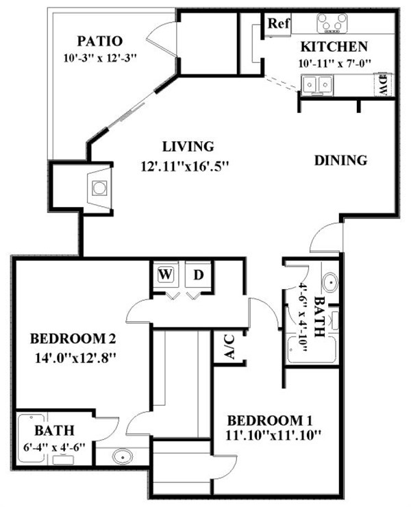 1,229 sq. ft. B4 floor plan