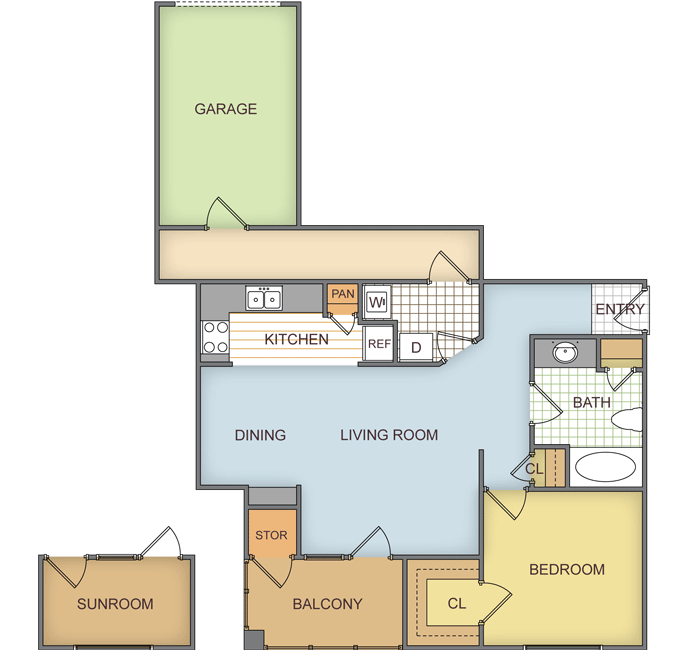 761 sq. ft. Pineview w/Sunroom floor plan