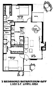 1,033 sq. ft. B4 floor plan