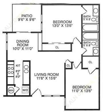 935 sq. ft. B21 floor plan