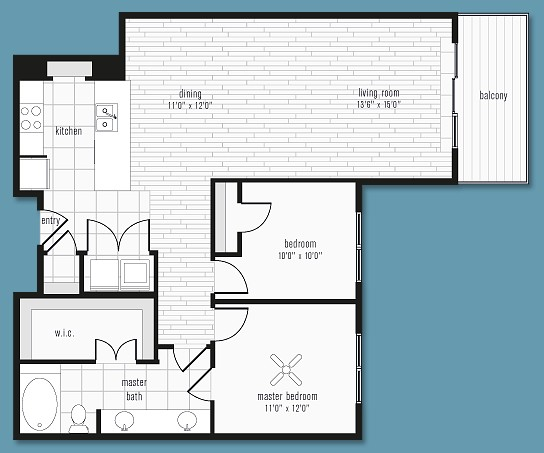 1,124 sq. ft. to 1,285 sq. ft. N floor plan
