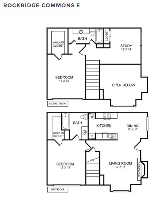 1,230 sq. ft. SA floor plan