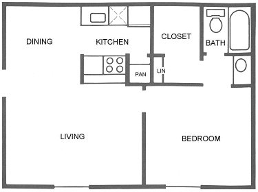 527 sq. ft. A3 floor plan