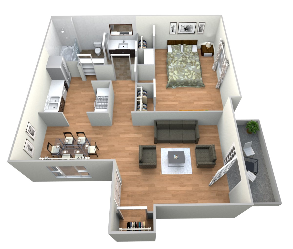 680 sq. ft. 1x1 C floor plan