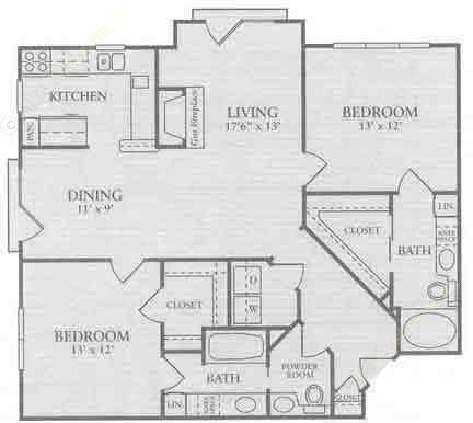 1,193 sq. ft. B2a floor plan