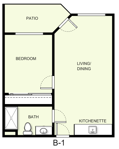 550 sq. ft. B1 floor plan