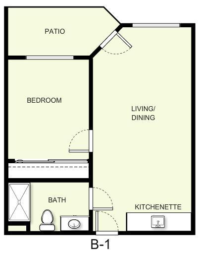 550 sq. ft. B1 floor plan