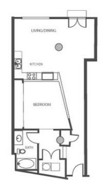 656 sq. ft. A1 floor plan