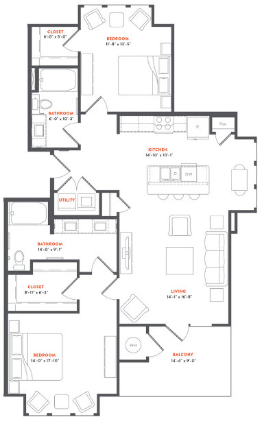 1,180 sq. ft. B2A floor plan