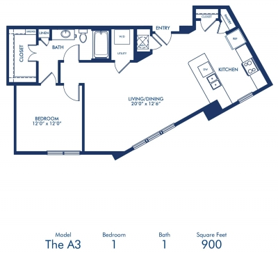 900 sq. ft. A3 floor plan