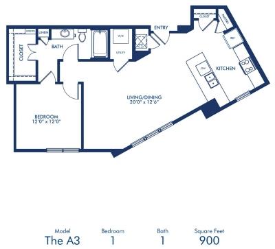 900 sq. ft. A3 floor plan