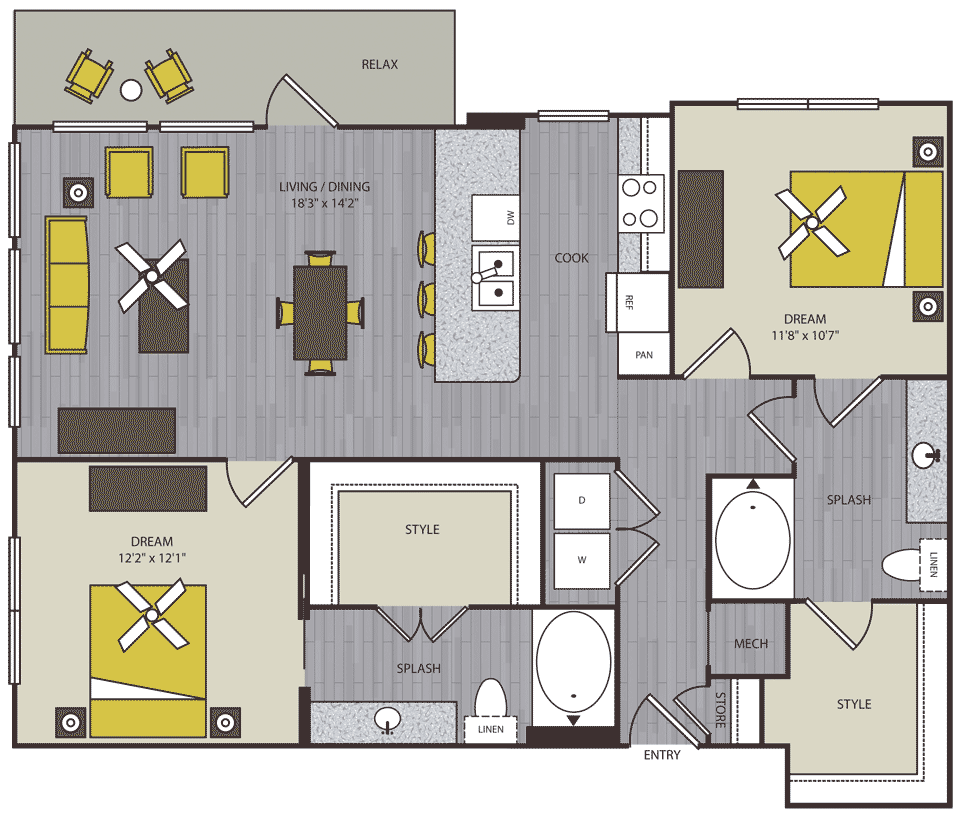 1,147 sq. ft. to 1,167 sq. ft. B5 floor plan
