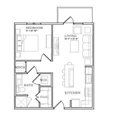 626 sq. ft. floor plan
