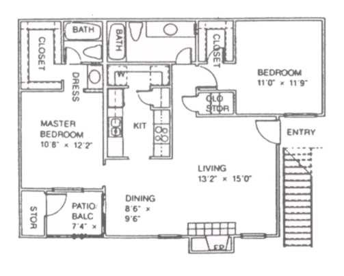 997 sq. ft. D floor plan