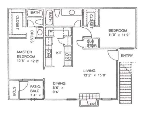997 sq. ft. D floor plan