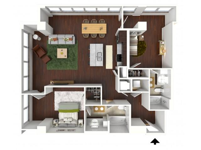 1,212 sq. ft. Turquoise floor plan