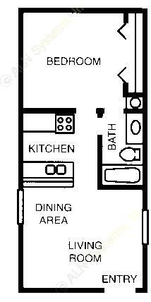 495 sq. ft. 60% floor plan
