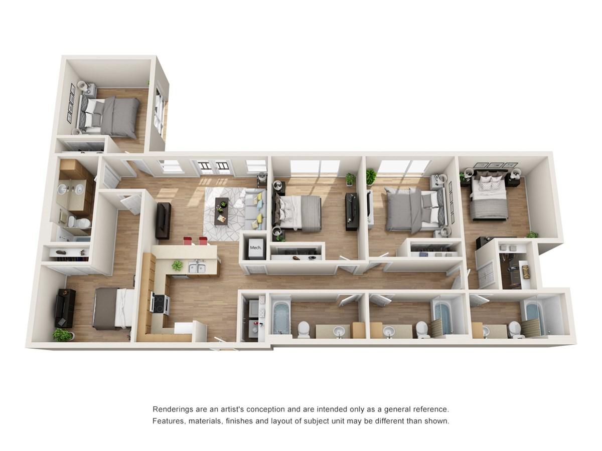 1,727 sq. ft. E1 floor plan