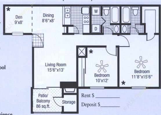 950 sq. ft. to 1,036 sq. ft. floor plan