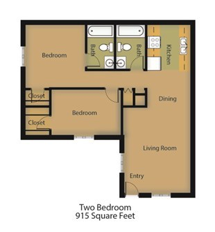 915 sq. ft. Dogwood floor plan