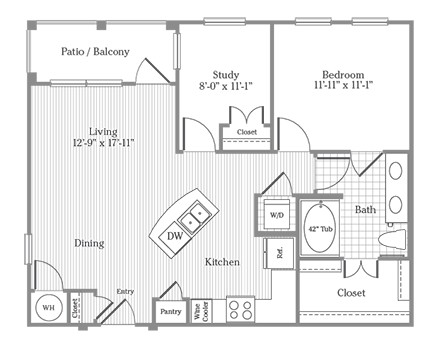 847 sq. ft. A5 floor plan
