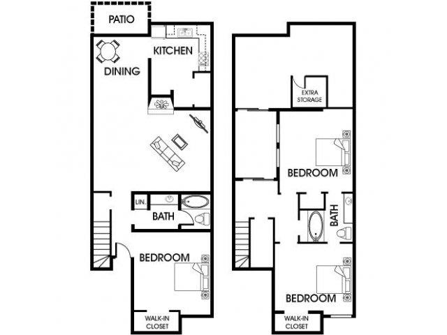 1,418 sq. ft. C1 floor plan