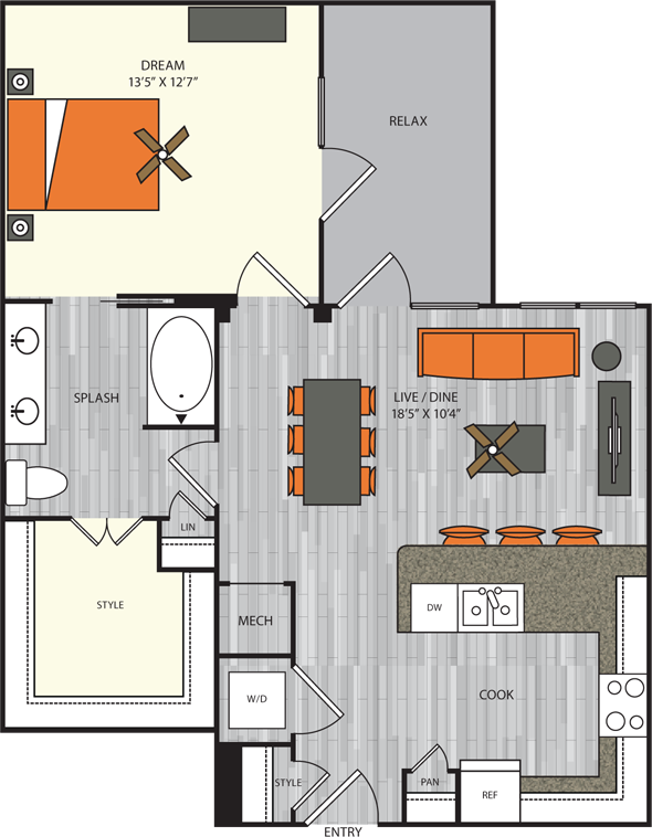 807 sq. ft. A6 floor plan