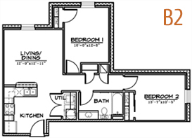 745 sq. ft. B2 floor plan
