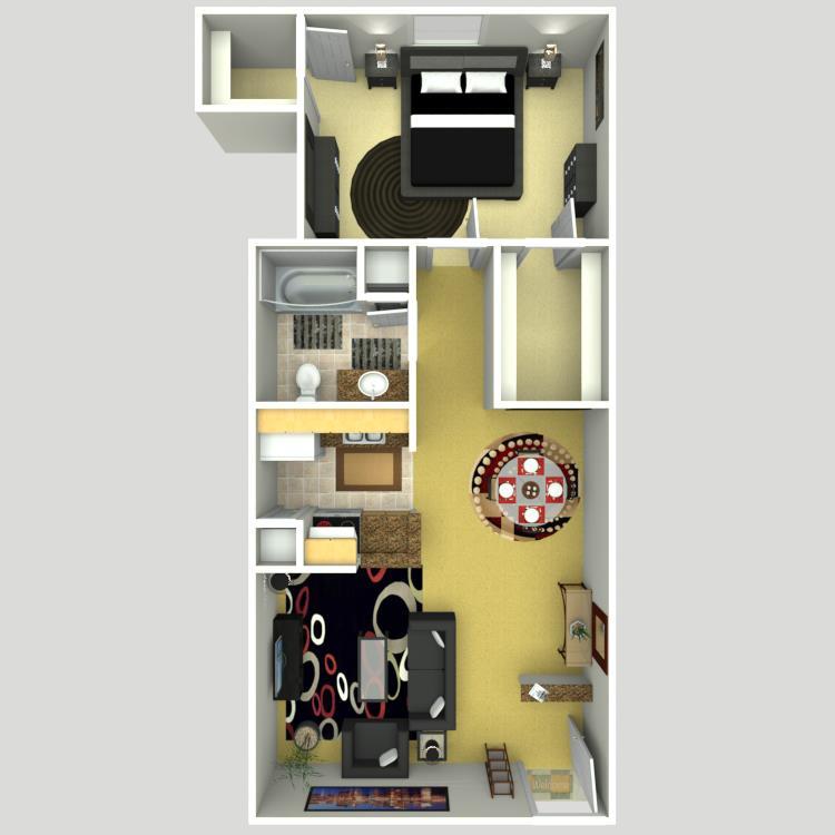 697 sq. ft. C/50% floor plan