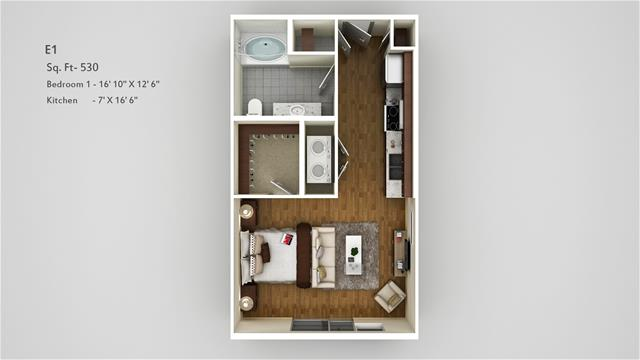 530 sq. ft. E1 floor plan